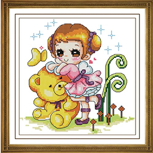Cartoon Lovely Bear And Girl Wall Pictures For Kids Bedroom front-85382