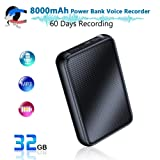 Digital Voice Recorder, 8000mh Power Bank Up to 60 Days Continuous Recording Device, 32GB Voice Activated Recorder, Functional Portable Charging Device, 500 Days Standby | Built-in Strong Magnet (Color: Q75)