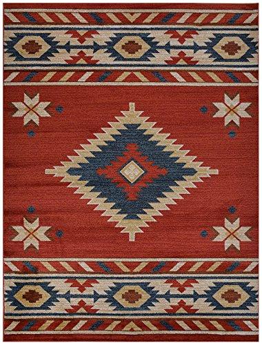 nevita collection southwestern native american design area rug rugs geometric orange terra blue b. Black Bedroom Furniture Sets. Home Design Ideas