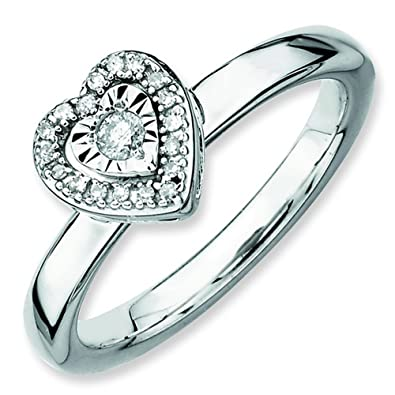 Stackable Expressions Size 7 - Diamond Accent Heart Polished Sterling Silver Stackable Ring UK Ring Size - N