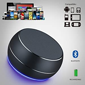 NUBWO Portable Bluetooth Speakers with Mic, Hands-free Function, Built-in Mic, Enhanced Bass for iPhone, iPad, Blackberry, Samsung and More (Grey)