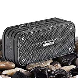 PLUSINNO Portable Bluetooth 4.0 Waterproof Wireless Speaker with Siri, Bluetooth Receiver and Built-in Microphone (Gray)