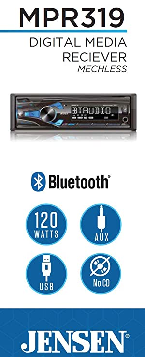 JENSEN MPR319 Single DIN Car Stereo Receiver with 7 Character LCD Built-in Bluetooth/MP3/USB (Tamaño: Single DIN Bluetooth)