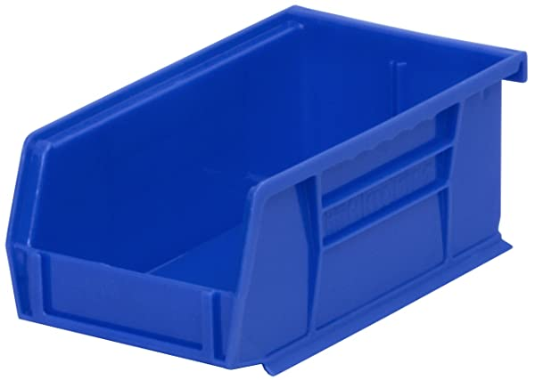 Akro-Mils 30220 Plastic Storage Stacking Akro Hanging Bin, 7-Inch by 4-Inch by 3-Inch, Blue, Case of 24 (Color: Blue, Tamaño: 7-Inch by 4-Inch by 3-Inch)