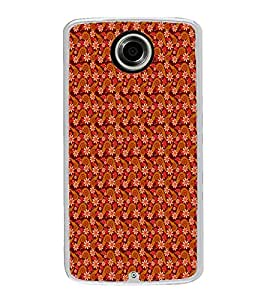 ifasho Animated Pattern colrful design flower with leaves Back Case Cover for Motorola Google Nexus 6