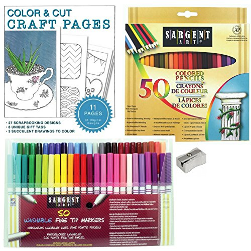 Starter Coloring Kit: 50 Sargent Art Colored Pencils, an Aluminum Sharpener, and 50 Sargent Art Fine Tip Washable Markers 3-piece Bundle with Printable Coloring Pages