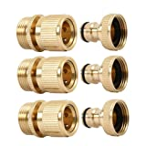 "summery life 3/4"" Brass Garden Hose Quick Connector Brass Easy Connect Fitting Male and Female, Quick Hose End Connector Garden Hose Nozzle Connect Kit, 3 Sets/ 6 Pc (Tamaño: Quick Connector/3 Sets)"