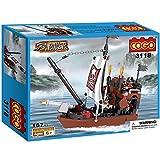 #7: Saffire Sea Rover Pirate Ship Building Blocks , Multi Color (167 Count)