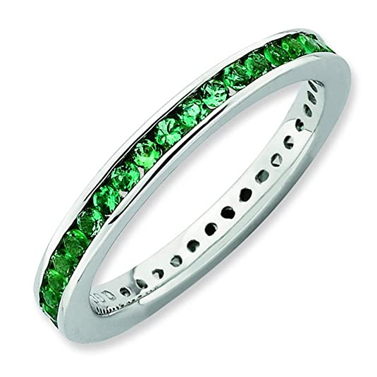 Stackable Expressions Size 9 - Emerald 2.5mm Channel Eternity Band Sterling Silver Stackable Ring UK Ring Size - R