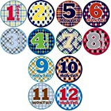 Sticky Bellies Baby Onesie Monthly Milestone Stickers (Oh Sew Handsome 1-12 months)