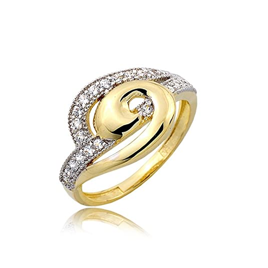 Curved gold and zirconia pave ring