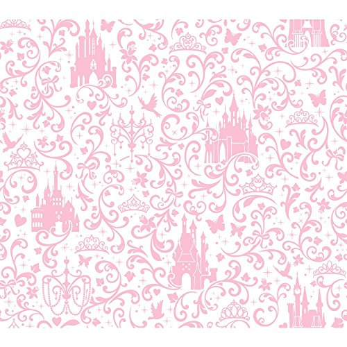 York Wallcoverings Walt Disney Kids Ii Small Scroll With Castles Wallpaper Memo Sample, 8-Inch X 10-Inch, Light Pink/White front-95538