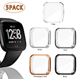 5 Pack Screen Protector Case for Fitbit Versa, Haojavo Soft TPU Slim Fit Full Cover Screen Protector for Fitbit Versa Smartwatch Bands Accessories (Color: black+gray+silver+champagne+clear, Tamaño: 5 Pack)