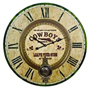 Large Cowboys Western Bar Wall Clock
