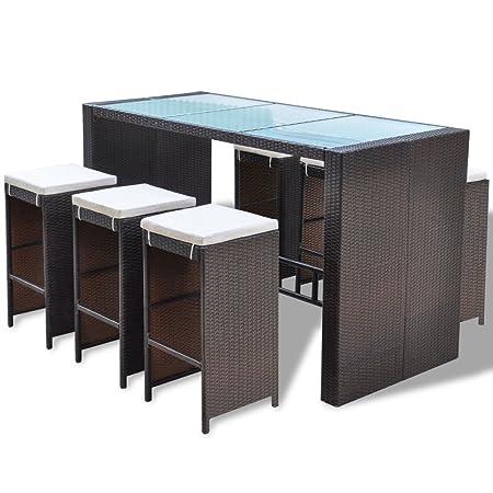 vidaXL Set de Muebles Tipo Bar para Jardín Material Ratán de Poliéster Marrón 13 piezas