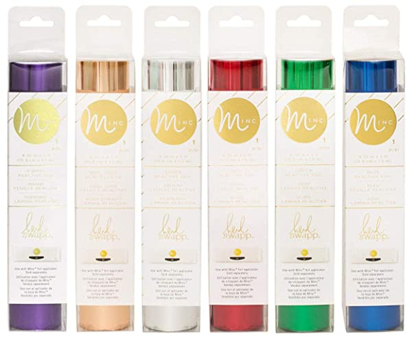 Heidi Swapp - MINC Reactive Foil - Six 6.25 x 5' Rolls - Holographic, Rose Gold, Purple, Red, Green and Blue