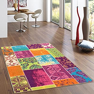 Rubber Backed Multicolor Grey Patchwork Design Rugs and Runners - Rana Collection Kitchen Dining Living Hallway Bathroom Pet Entry Rugs