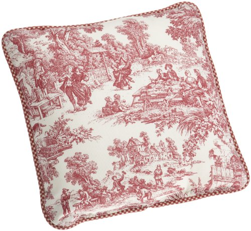 Victoria Park Toile Logan Gingham Check Reversible Toss Pillow, Red
