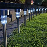 New Festive Lights 10 Wireless Stainless Steel Solar Garden Path Light Stakes