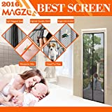 MAGZO Magnetic Screen Door 72 x 80 Inch Fit Doors Up To MAX 70 x 79 Inch Magic Mesh Screen Door Keeps Bugs Out with Full Frame Velcro Durable and Tough Mesh Simple Installataion Tearproof