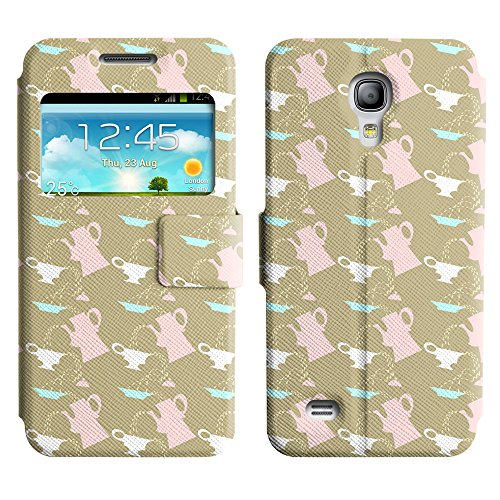 Axen Scratchproof Pu Leather Stand Case Cover Samsung Galaxy S4 Mini ( Tea And Kettle )