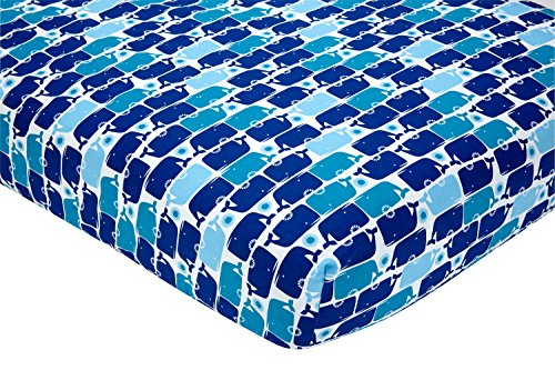 Happy Chic Baby Jonathan Adler Party Whale Crib Sheet, Blue/White