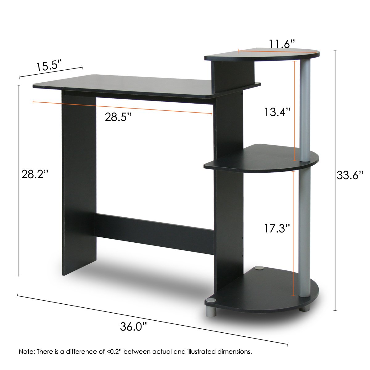 Furinno Compact Computer Desk For Space Saving In Black