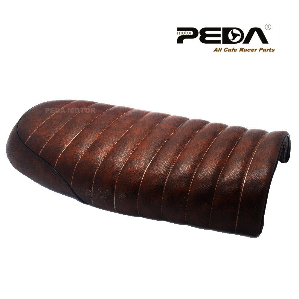 PEDA New Brown Cafe Racer Flat Seat Retro Locomotive Refit Motorcycle Seats Leather Waterproof 1