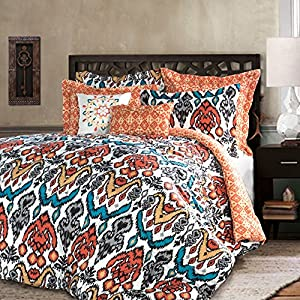 Lush Decor 7 Piece Jaipur Ikat Comforter Set, Full/Queen, Turquoise/Rust