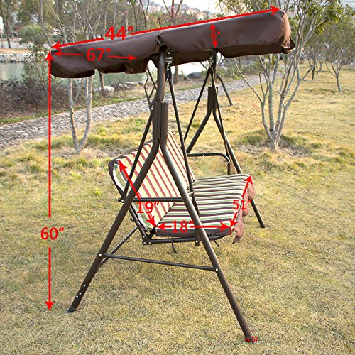 day present outdoor 3 person canopy swing chair patio backyard