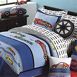 Racing Car 2-piece Bedspreads/Quilt Set for Teens Kids Boys Girls , Twin(1 quilt,1 pillowcase)
