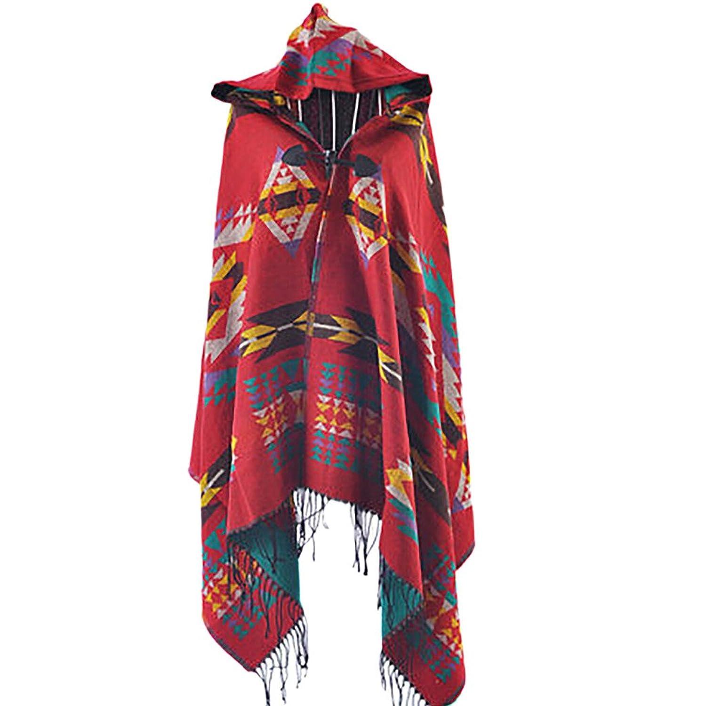 Tasso Damen Boho Wollmischung mit Kapuze Umhang Poncho Cape Outwear Mantel Schal Hoodies online bestellen