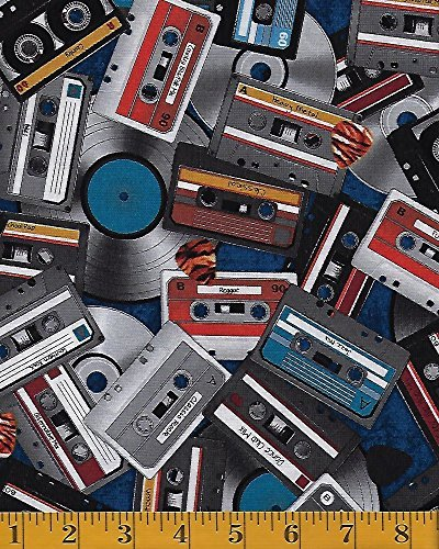 RJR Fabrics All Amped Up by Dan Morris - Cassette Tapes & LP Records - Navy #2237-003 by Quilt Fabric Closeouts