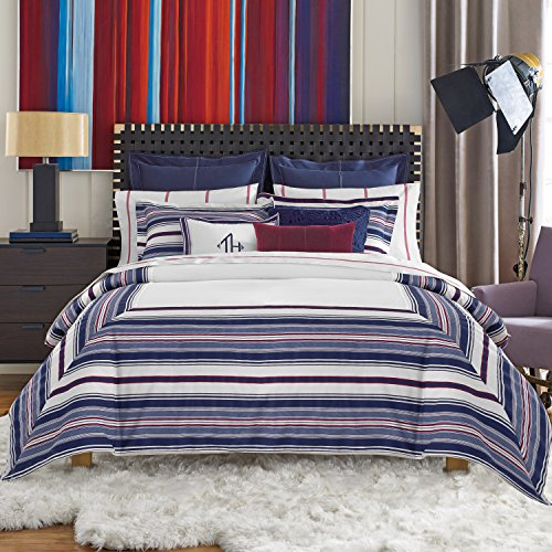 Tommy Hilfiger Sutton Stripe Comforter Set, Full/Queen, White/Navy