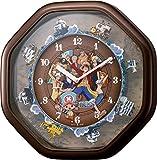 リズム時計 ONE PIECE ( ワンピース ) からくり キャラクター 掛け時計 茶色メタリック色 4MH880-M06