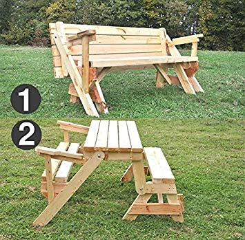 Table de jardin avec banc en bois pliable Banc massif, extensible - All in One Gross