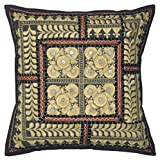 Lalhaveli Bright Stunning Floral Design Embroidered Mirror Work Cotton Single Cushion Cover 16 Inches - B00MY12FJM