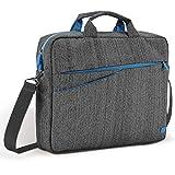 """deleyCON Notebooktasche für Notebook / Laptop bis 15,6"""" (39,5cm) - Tasche/Hülle aus Leinen mit Zubehörfächern und verstärkten Polsterwänden - grau/blau"""