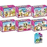 PLAYMOBIL-Puppenhaus-7er-Set-5304-5306-5307-5308-5309-5336-4791-Babyzimmer-mit-Wiege-Buntes-Kinderzimmer-Romantik-Bad-Wohnzimmer-mit-Kaminofen-Schlafzimmer-Einbaukche-mit-Sitzecke-Handwerker-mit-Fahrr