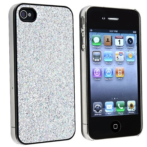 Snap-on Case Compatible With Apple® iPhone® 4 AT&T / Verizon, Silver Bling Rear