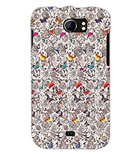PrintDhaba Butterflies D-2040 Back Case Cover for MICROMAX A110 CANVAS 2 (Multi-Coloured)