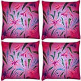 Snoogg Colorful Petals Pack Of 4 Digitally Printed Cushion Cover Pillows 18 X 18 Inch
