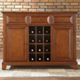 Crosley Furniture Newport Buffet Server/Sideboard Cabinet with Wine Storage, Classic Cherry