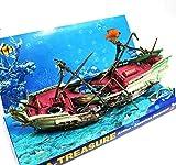 宝箱とダイバー 水槽 装飾 オーナメント エアレーション アクアリウム (難破船)