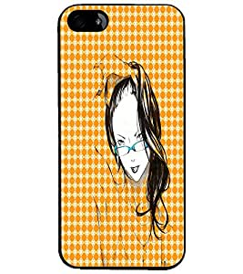 PrintDhaba Girl with Specs D-2913 Back Case Cover for APPLE IPHONE 5 (Multi-Coloured)