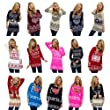 LADIES CHRISTMAS XMAS JUMPER WOMENS FAIRISLE RETRO PENGUIN NOVELTY JUMPER (14-16, Fairisle Reindeer Red)