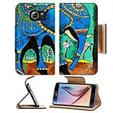 buy Msd Samsung Galaxy S6 Flip Pu Leather Wallet Case Picture Of An Elephant Who Likes To Walk Under The Moon Image 23810745
