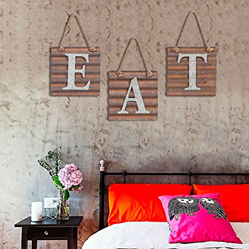 Xing Cheng Wall Metal Plaque Sign Eat Letter Sign Wavy Metal Plate for Kitchen 4