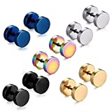 Stainless Steel Mens Womens Stud Earrings Set Ear Piercing Plugs Tunnel Punk Style (5 Colors-Set) (Color: 5 Colors-Set)