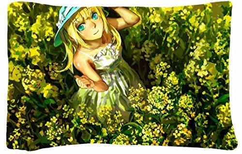 Queen Size Microfiber Peach Decorative Pillowcase -Nature Fields Blondes Vocaloid Dress Flowers Fields Long Hair Aqua Eyes Hats Lily Vocaloid Nature Fields front-753591